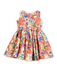 Helena Sleeveless Crinkled Floral Circle Dress Coral Size 12M 3 Girl's Size 12 Months