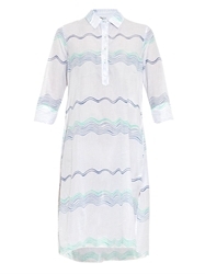 Thierry Colson Angelica Wave Print Cotton Shirt Dress