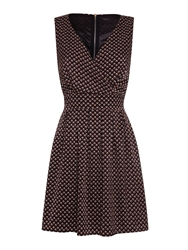 Mela Loves London V Neck Printed Dress Black