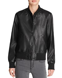 Aqua Faux Leather Bomber Jacket Black