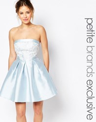 Chi Chi Petite Chi Chi London Petite Bandeau Mini Prom Dress With Lace Applique Bust Detail Pale Blue