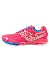 The North Face Ultra Cardiac Trail Running Shoes Rocket Red Blue Quartz Coral