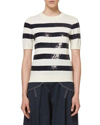 Carolina Herrera Knit Sequin Striped Sweater Ivory