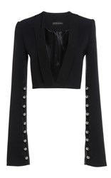 David Koma Long Bell Sleeve Cropped Jacket Black