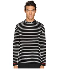 Mcq By Alexander Mcqueen Long Sleeve Crew Tee Stripe White Black Men's T Shirt