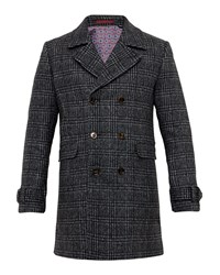 Ted Baker Men's Watts Checked Double Breasted Coat Charcoal