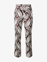 Giambattista Valli Leaf Jacquard And Embroidered Cropped Trousers Multi Coloured White Pink Burgundy