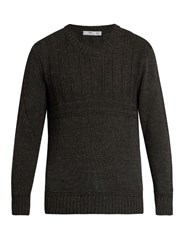 Inis Meain Crew Neck Alpaca And Silk Blend Multi Knit Sweater Grey