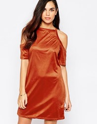 Ax Paris Cold Shoulder Dress In Suede Effect Fabric Rust Red