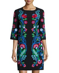 Andrew Gn Floral Embroidered Crepe Half Sleeve Coat Black