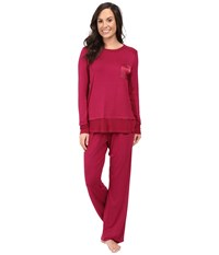 Midnight By Carole Hochman Packaged Key Item Pajama Crimson Red Women's Pajama Sets
