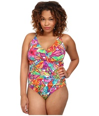 Lauren Ralph Lauren Plus Size Polynesian Floral Twist Shirred Mio Ots Slimming Fit One Piece Multi Women's Swimsuits One Piece