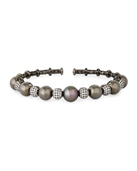 18K Black Gold Tahitian Pearl And Diamond Bangle Yoko London