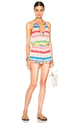 Missoni Mare Deep V Neck Romper In Pink Stripes