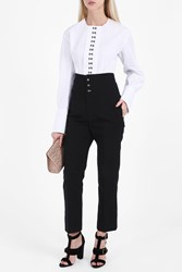 Joseph High Waisted Linen Trousers Black