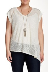 Halo Asymmetrical Open Knit Tee With Necklace Plus Size White