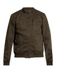 Belstaff Pendine Cotton Blend Drill Bomber Jacket Khaki