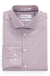 Calibrate Men's Big And Tall Trim Fit Non Iron Check Dress Shirt Red Ribbon
