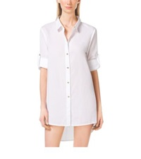 Michael Kors Asymmetric Button Up Shirtdress White