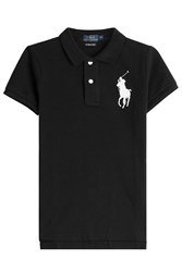 Polo Ralph Lauren Cotton Polo Shirt With Oversized Logo Black