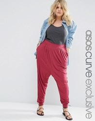 Asos Curve Harem Pants In Jersey Berry Red