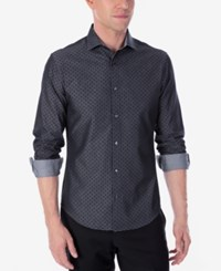 Calvin Klein X Men's Extra Slim Fit Reversible Stretch Dress Shirt Gray