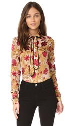 Alice Olivia Cora Button Down With Necktie Medieval Floral