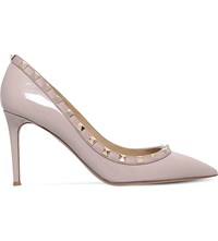 Valentino Rockstud 85 Patent Leather Courts Nude
