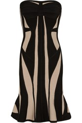 Herve Leger Strapless Two Tone Bandage Dress Beige