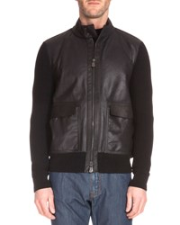Berluti Leather Front Sweater Jacket Black