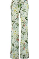 Tory Burch Tomino Printed Linen Straight Leg Pants Green