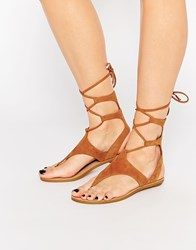 Kendall And Kylie Faris Tan Suede Ghillie Tie Up Flat Sandals Rio Maple