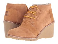 Toms Desert Wedge Wheat Suede Shearling Faux Crepe Wedge Women's Wedge Shoes Brown