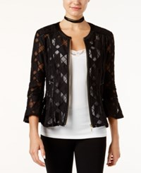 Inc International Concepts Faux Leather Trim Mesh Illusion Jacket Only At Macy's Deep Black