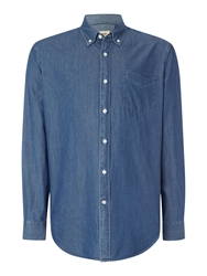 T.M.Lewin Denim Relaxed Fit Casual Shirt Blue