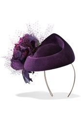 Philip Treacy Rosette Embellished Veiled Velvet Pillbox Hat Burgundy