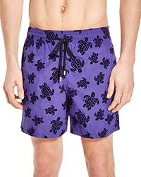 Vilebrequin Moorea Flocked Turtle Swim Trunks Purple