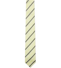 Hardy Amies Striped Silk Cotton Blend Tie Olive Grey