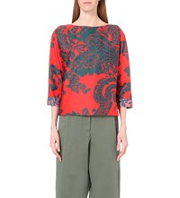 Dries Van Noten Calida Floral Print Top Red