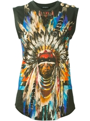 Balmain Native American Print Sleeveless Top Green