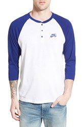 Men's Nike 'Sb Dri Fit' Three Quarter Raglan Henley Royal Blue