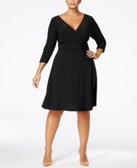 Ny Collection Plus Size Ruched A Line Dress Black