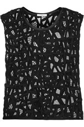 Iro Olpen Embroidered Mesh Top Black