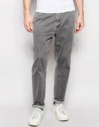 Asos Straight Leg Jeans With Double Pleat Front Grey
