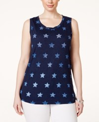 Styleandco. Style And Co. Plus Size Star Print Tank Top Only At Macy's Ink