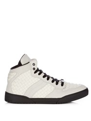 Bottega Veneta Intrecciato Leather And Suede Mid Top Trainers White