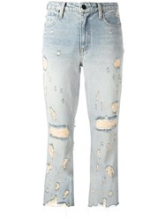 Alexander Wang Distressed Cropped Jeans Blue