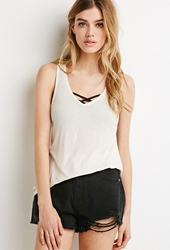 Forever 21 Boxy Ribbed Knit Tank Cream