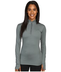 The North Face Motivation 1 4 Zip Pullover Balsam Green Women's Long Sleeve Pullover Gray