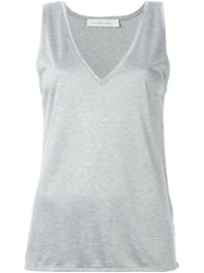 Victoria Beckham Denim V Neck Tank Top Grey